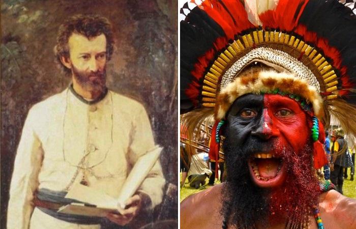 Николай Николаевич Миклухо-Маклай и папуас Новой Гвинеи.
